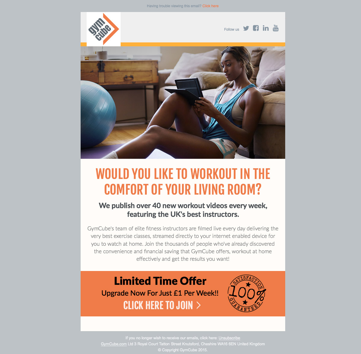GymCube Email Template